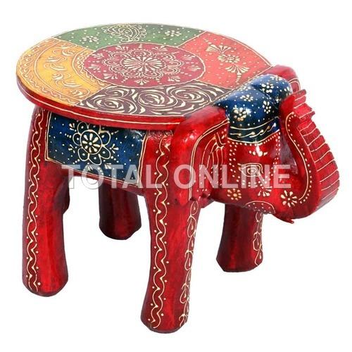 Wooden Elephant Shape Round Hand Painted Stool