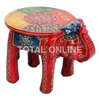Wooden Elephant Shape Round Hand Painted Stool