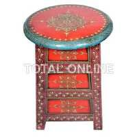 Wooden Embossed Bed Side Stool With Drawers