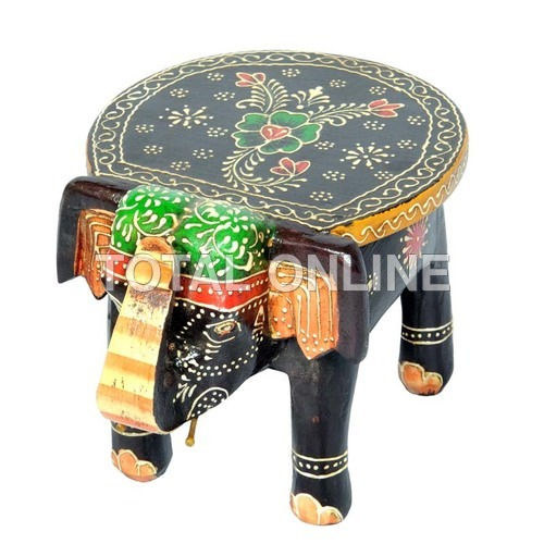 Wooden Handpainted Elephant Style Stool