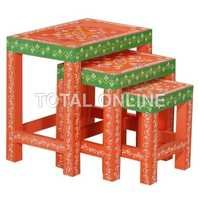 Orange and Green Wooden Nested Table Set