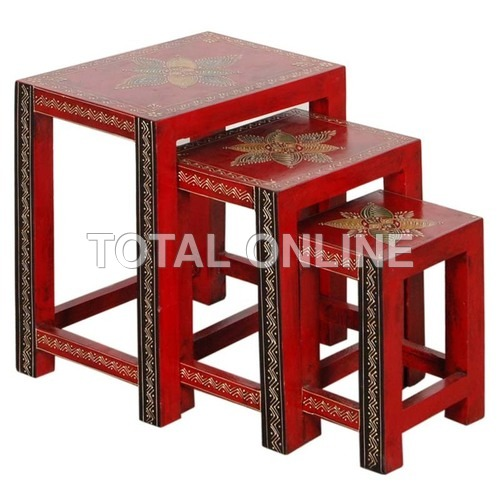 Vibrant Wooden Nested Table Set