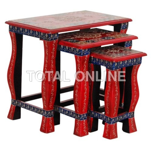 Red Wooden Nested Table Set