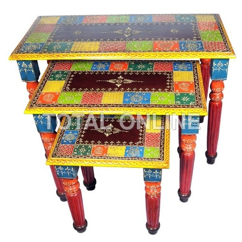 Set of Wooden Handpainted Table