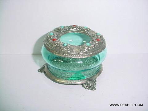 Green Colored Glass Ashtray