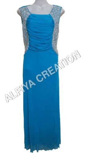 Elegant Turquoise Blue Long Maxi Dress