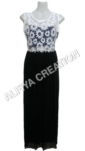 Flower Print With Crystal Work On Waist Maxi Dress