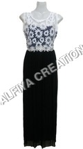 Flower Print With Crystal Work On Waist Maxi Dress