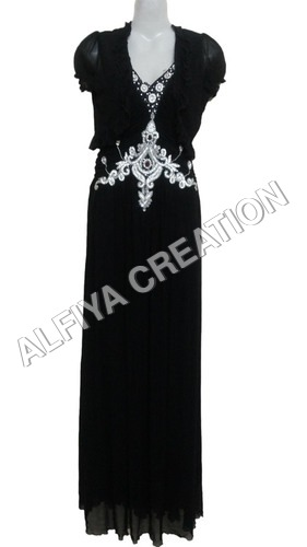 Silver Embroidery Jacket Style Maxi Gown Dress