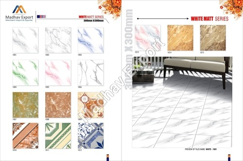 White Matt Ceramic Color Floor Tiles