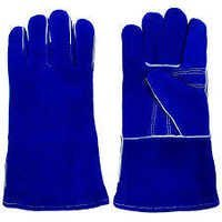 Blue Split Leather Welding Gloves