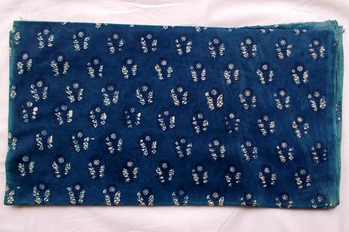 New Sunflower Indigo Dabu Hand Block Print Running Design 08