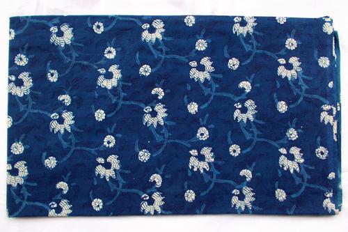 New Floral Indigo Dabu Iqat Hand Block Print Running Design 11