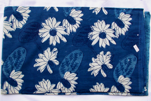 New Big Flower Indigo Blue Dabu Hand Block Print Fabric Design13