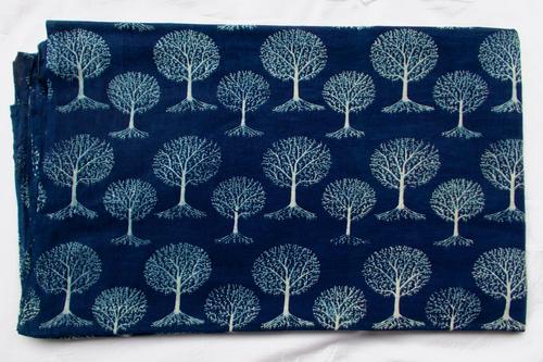 New Tree Plant Print Indigo Dabu Hand Block Printed Blue Dyed Fabric Design 16