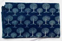 New Tree Plant Print Indigo Dabu Hand Block Printed Blue Dyed Fabric Design 16