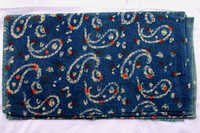 Off White Paisley Indigo Dabu Hand Block Printed Fabric Design 19