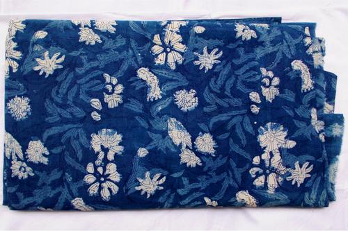 Simple Floral Indigo Blue Dabu Hand Block Print Cotton Fabric Running Design 20