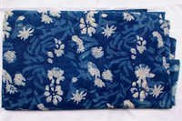 Simple Floral Indigo Blue Dabu Hand Block Print Cotton Fabric Running Design 20