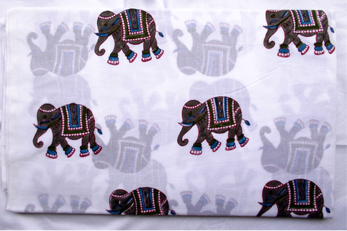 New Big Hand Block Printed Tradional Elephant Design Running Fabric