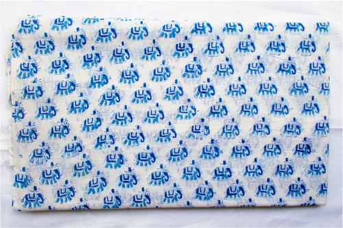 New Small Elephant Hand Block Printed 100% Cotton Fabric