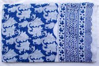 New White & Blue Paisley Hand Block Printed Cotton Fabric