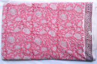 Pink Gadd Floral Pattern Hand Block Printed 100% Cotton Running