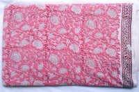 Pink Gadd Floral Pattern Hand Block Printed 100% Cotton Running