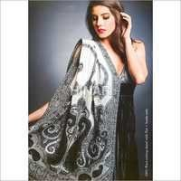 100% Wool Cutting Shawl With Net + Beeds Emb