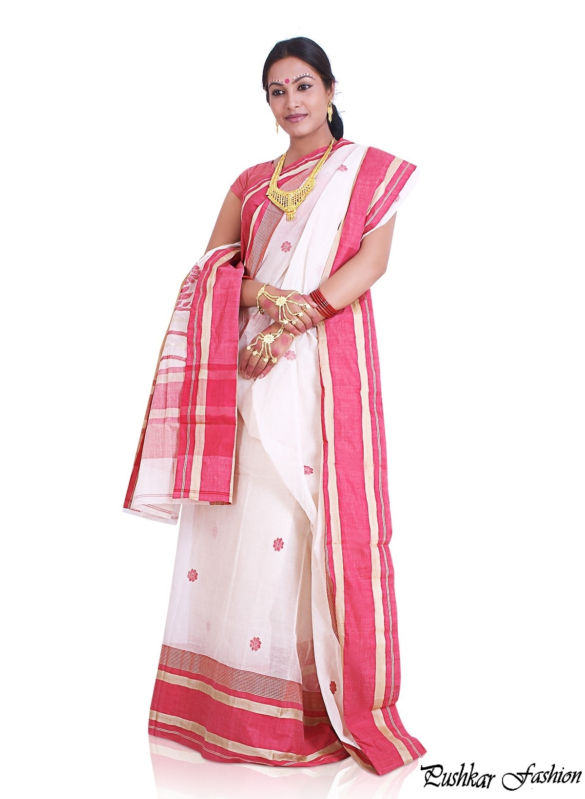 White Bangla Saree With Pink border