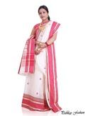 White Bangla Saree With Pink border
