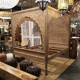 Carved Wood Relief Canopy Bed