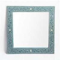 Square Blue Inlay Mirror