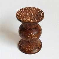 Inlay Hourglass Wood Stool