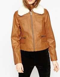Women Tan Leather Jacket