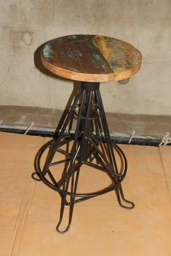 Metal Stool with Wood Top