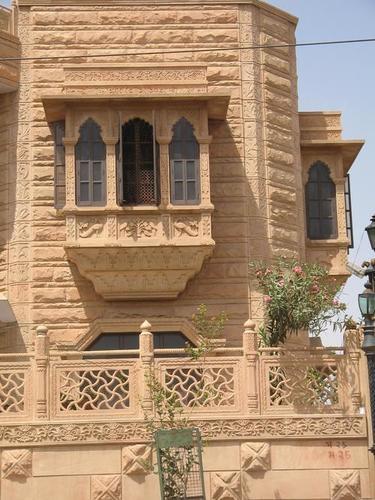 Window in jodhpur heritage pink sandstone