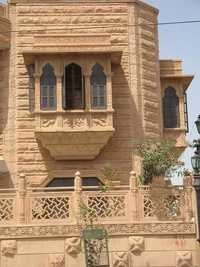Window in jodhpur heritage pink sandstone