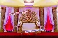 Indian Wedding Golden Carved Pillars Stage