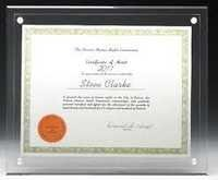 Acrylic Certificate Display frame