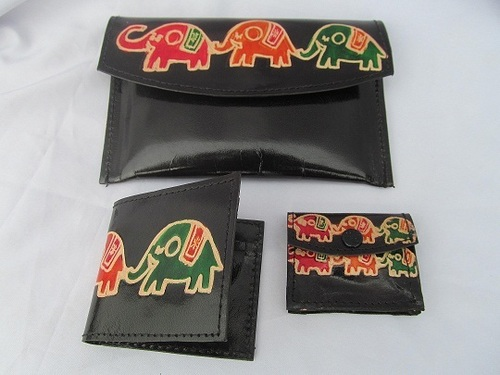 Hand printed leather bag