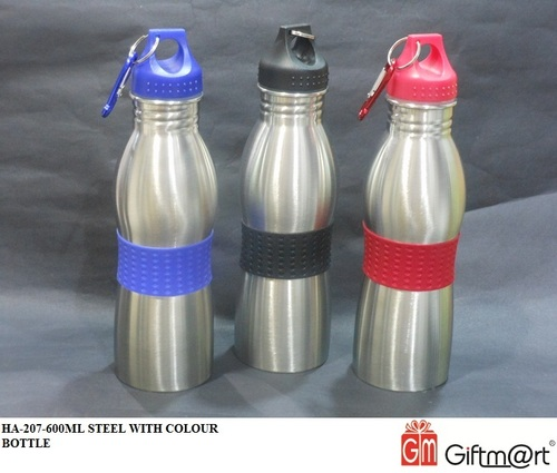 600ML STEEL WITH COLOUR BOTTLE
