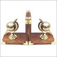 Metal Globe Bookend Shiny Brass