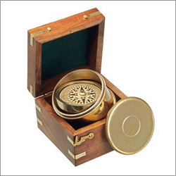 Gimbaled Boxed Nautical Brass Compass