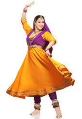 Red Kathak Dance Costume With Gold Border