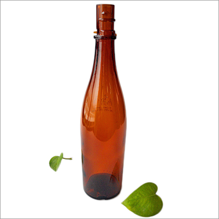 Vintage Amber Glass Beer Bottle