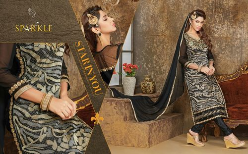 Sparkle Net Pattern Work Salwar Kameez