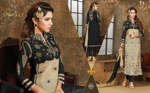 Black Color Flowers Pattern Work Wholesale Salwar Suits