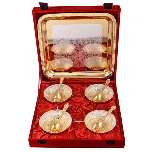 Gold Plated Bowls and Tray Set