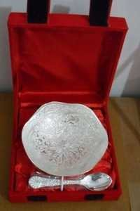 Silver Plated Engraved Oval Shaped Bowls